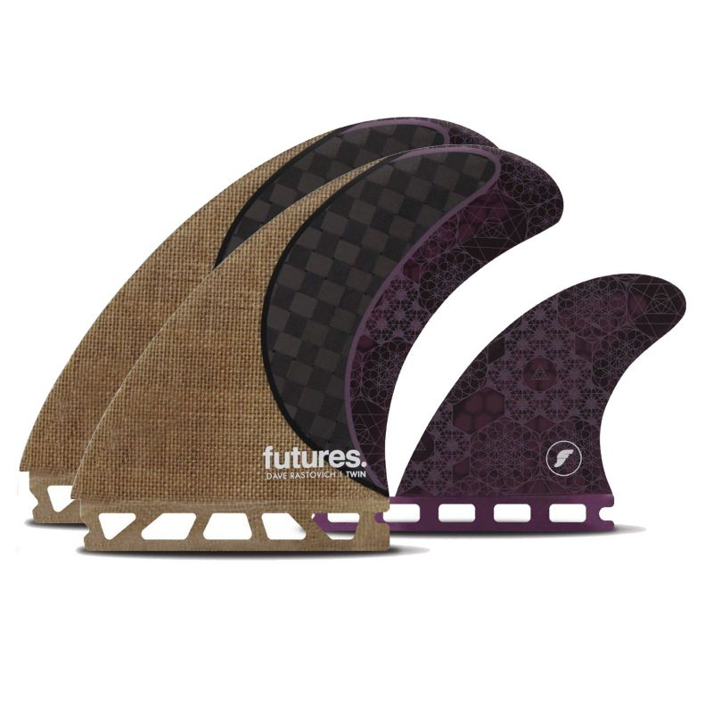 FUTURES Twin Fin Set Rasta Honeycomb Carbon