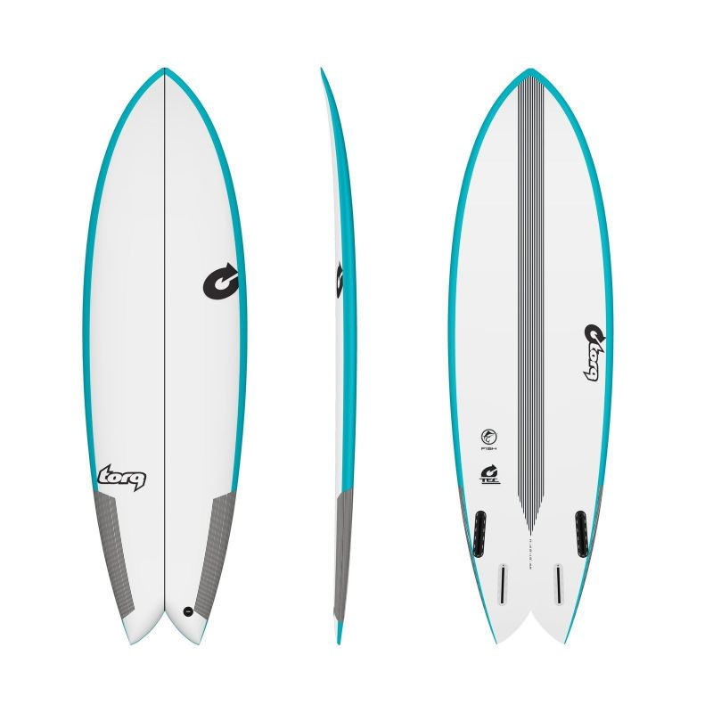 Surfboard TORQ Epoxy TEC Quad Twin Fish 5.8 Rail